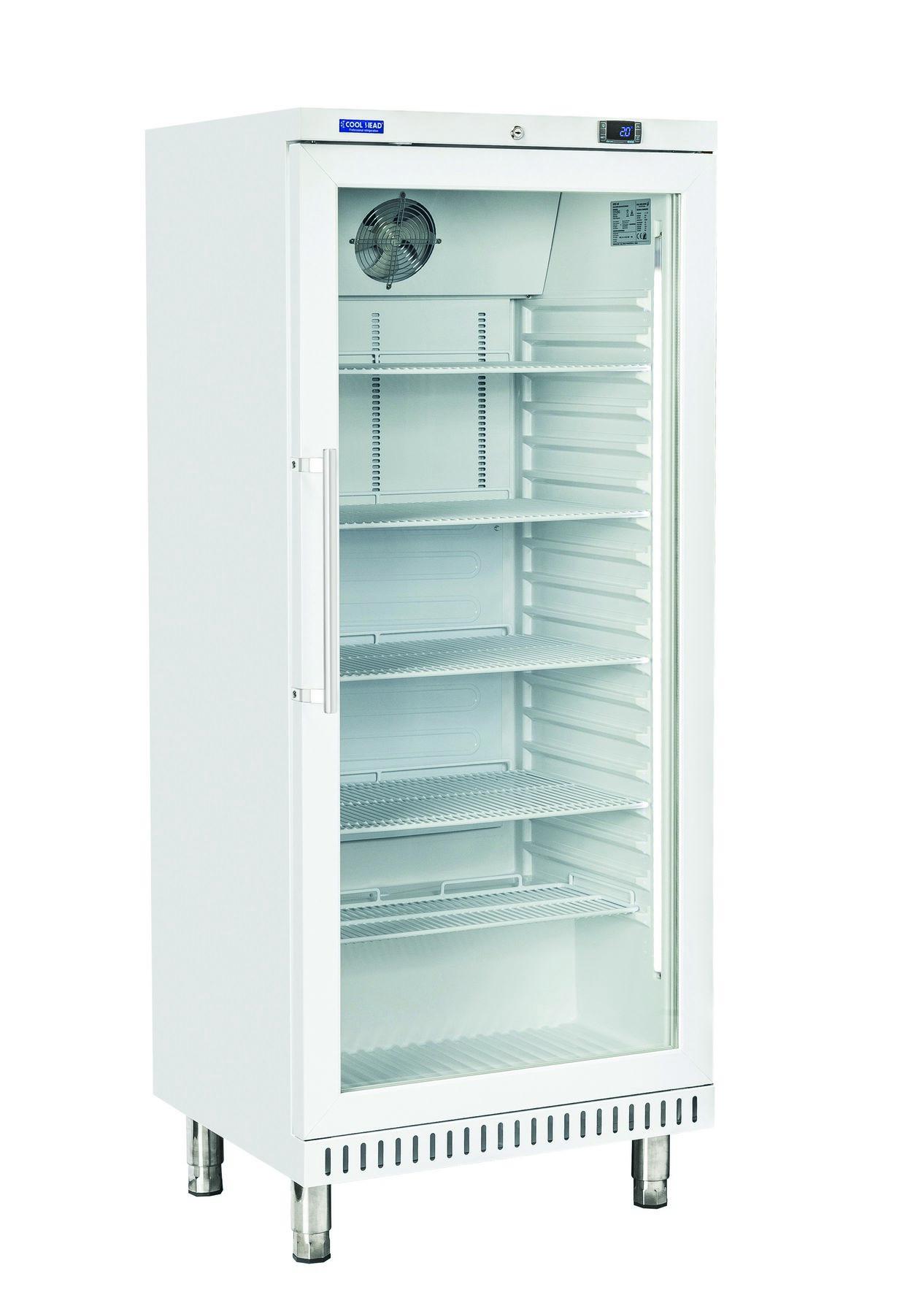 400 literes cukrászati hűtő, ventilációs hűtéssel, üveg ajtóval, fehér