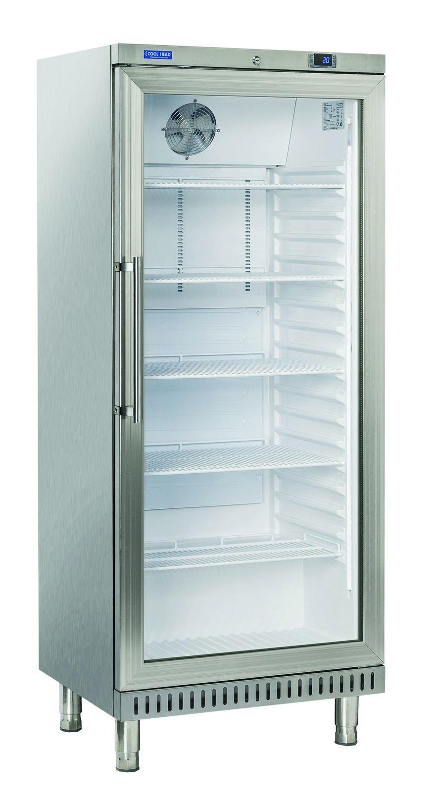 400 literes cukrászati hűtő, ventilációs hűtéssel, üveg ajtóval, rozsdamentes