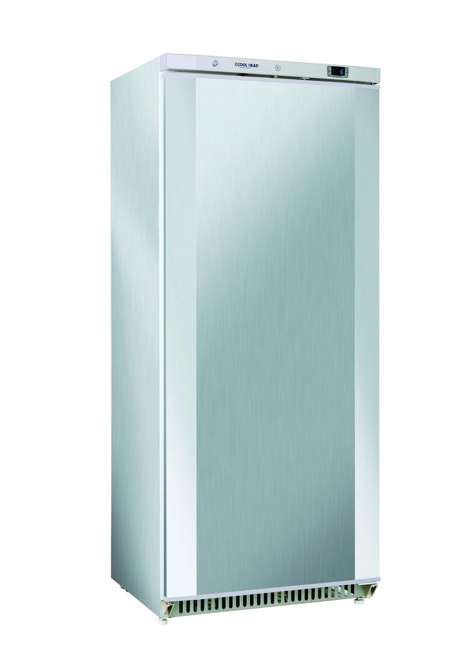 600 literes hűtő, ventilációs hűtéssel, teli ajtóval, rozsdamentes, 0/+8°C