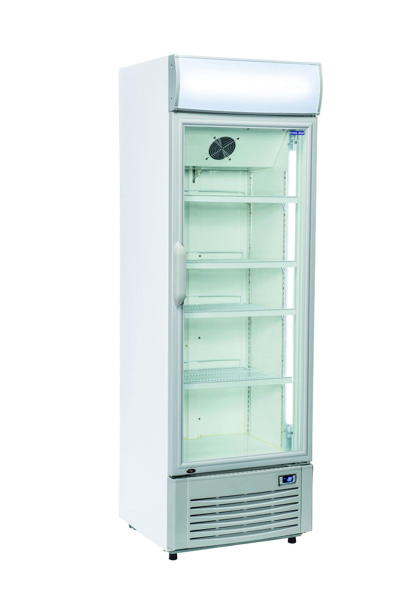 350 literes hűtő, ventilációs hűtéssel, üvegajtós, fehér