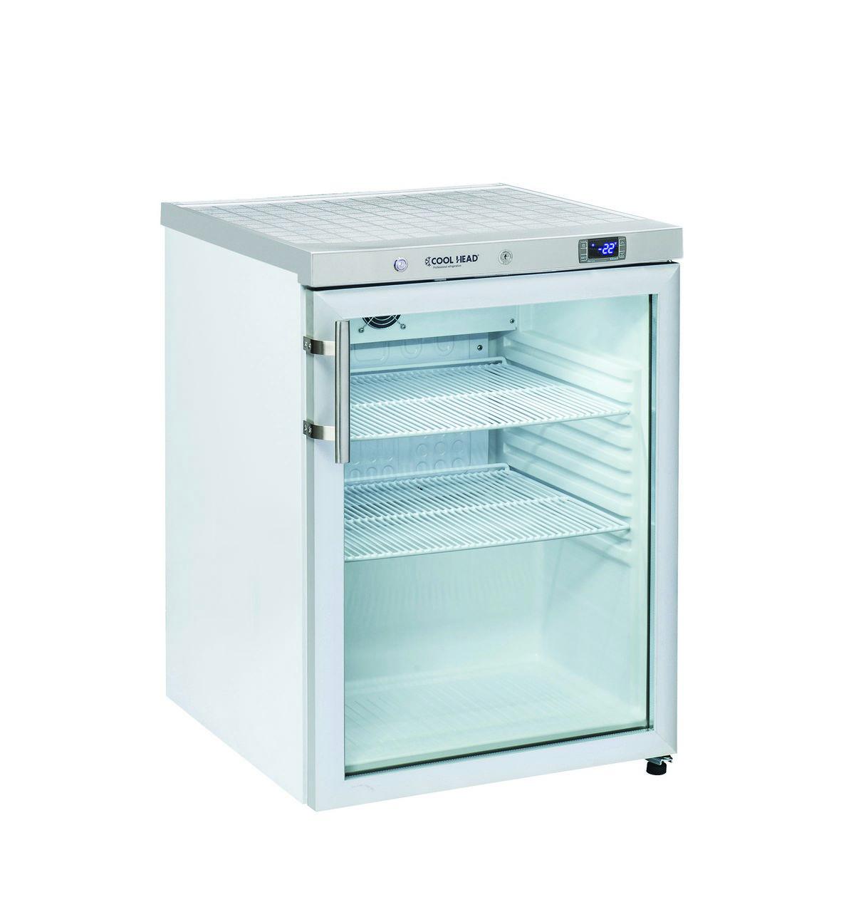 200 literes hűtő, ventilációs hűtéssel, üveg ajtóval, fehér