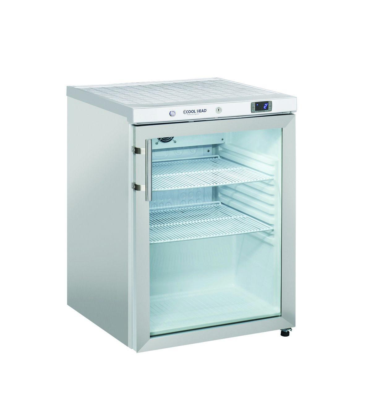 200 literes hűtő, ventilációs hűtéssel, üveg ajtóval, rozsdamentes
