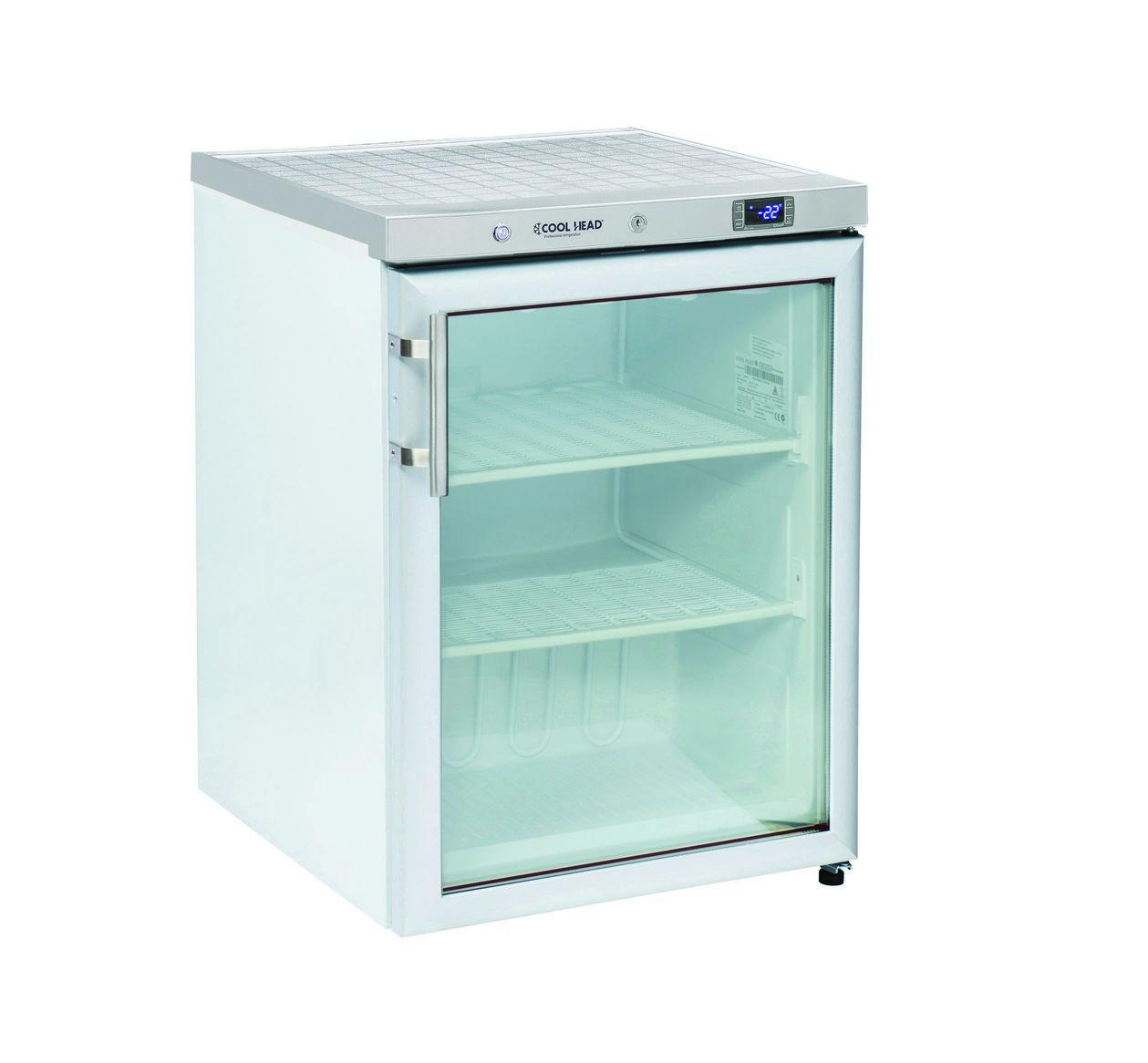 200 literes mélyhűtő, statikus hűtéssel, üveg ajtóval, fehér