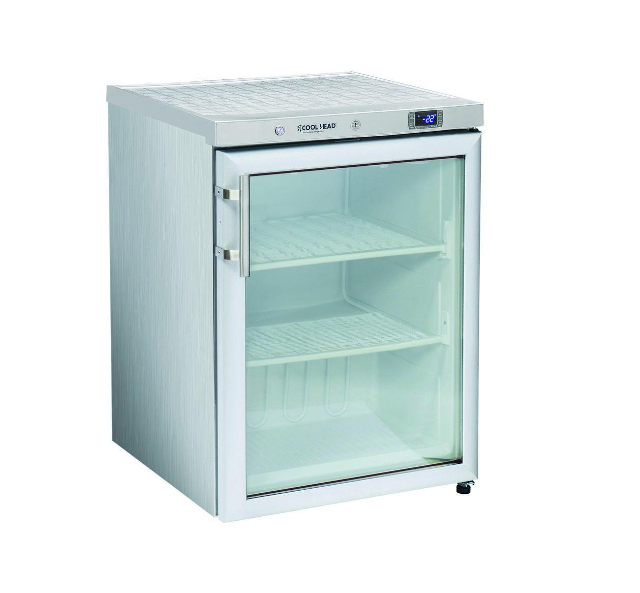 200 literes mélyhűtő, statikus hűtéssel, üvegajtós, rozsdamentes