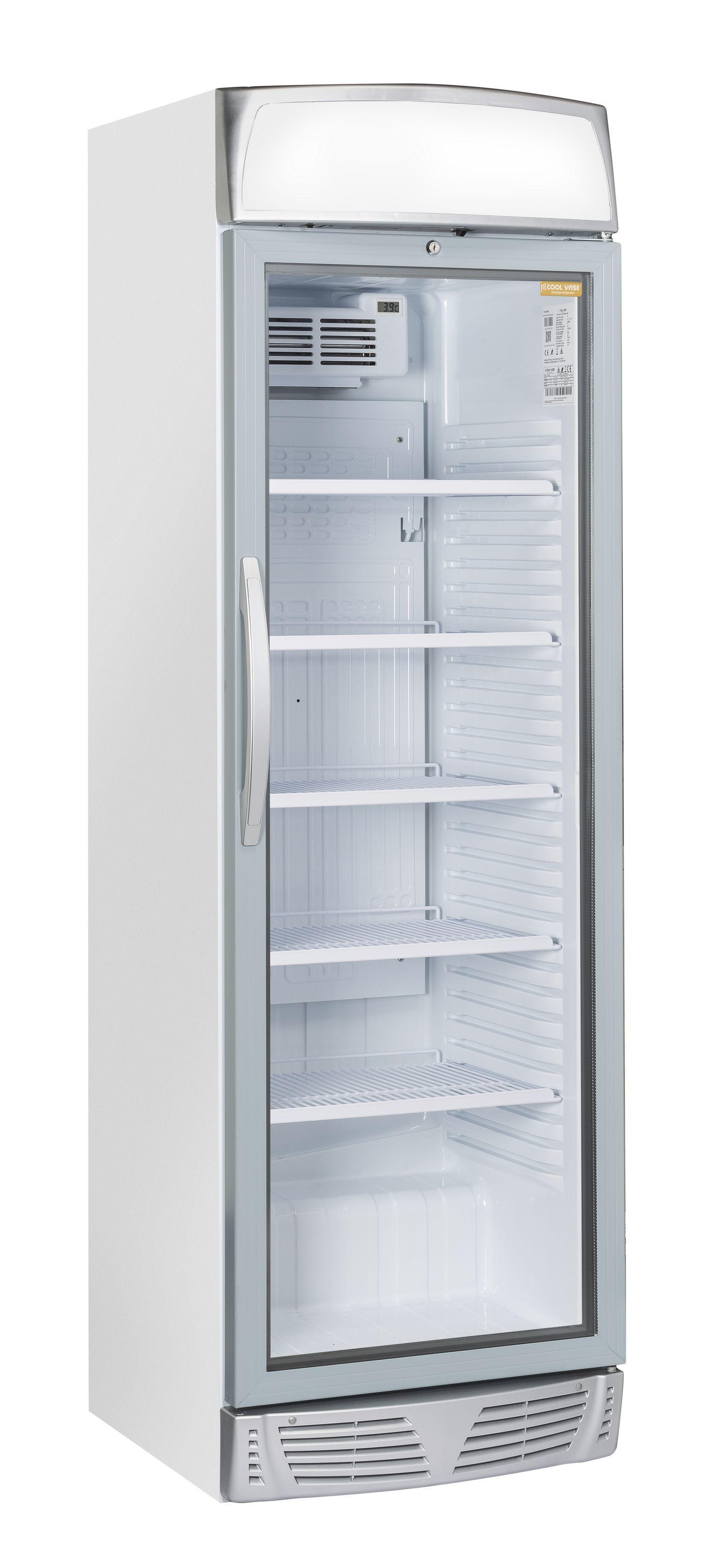 351 literes hűtő, ventilációs hűtéssel, üveg ajtóval, világító reklámpanellel, fehér