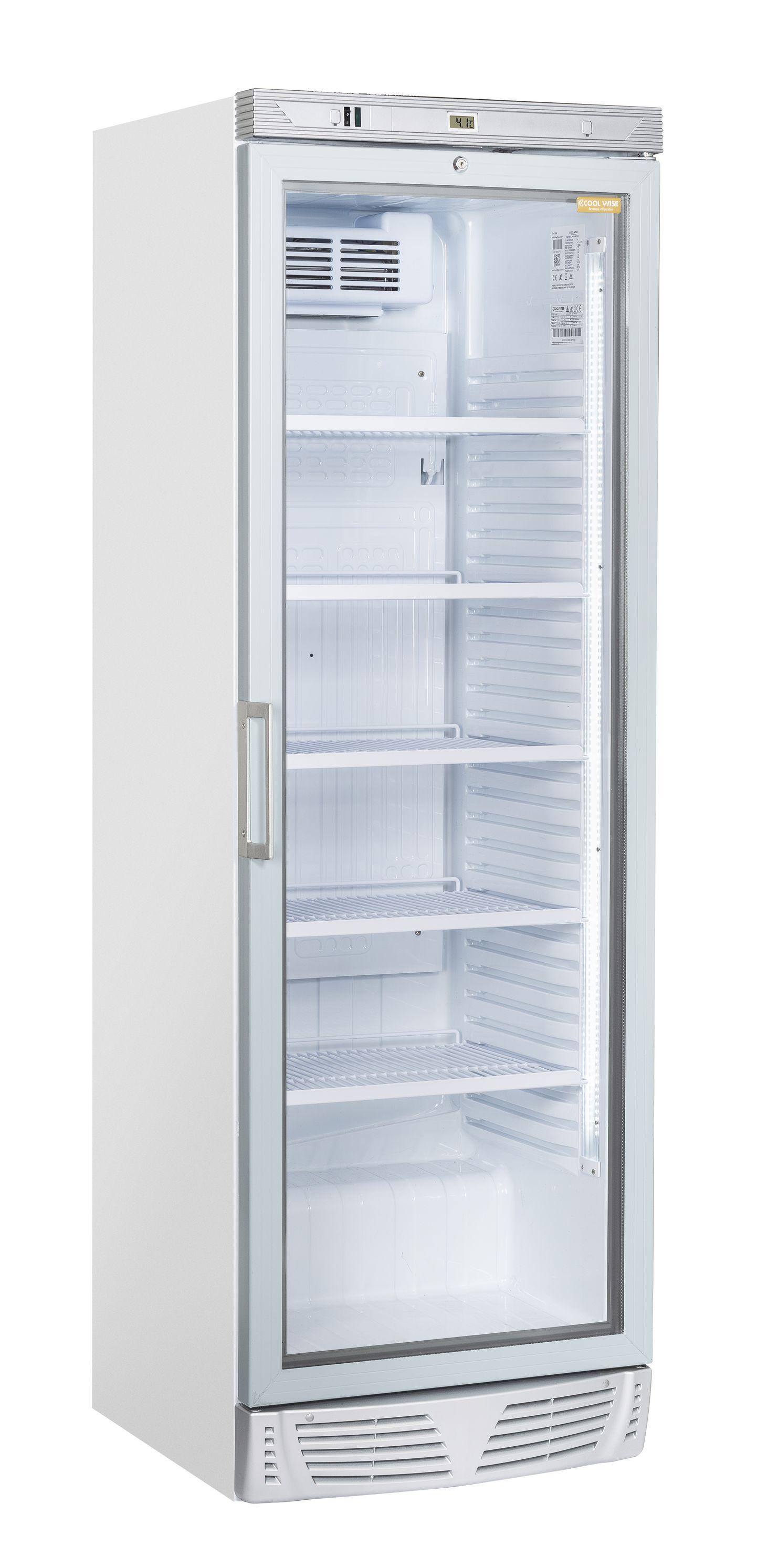 350 literes hűtő, ventilációs hűtéssel, üveg ajtóval, fehér