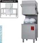 kalapos mosogatógép, 500x500 mm-es kosárral, 60/30 kosár/óra teljesítménnyel, befutó és kifutó asztallal