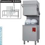 kalapos mosogatógép, 500x500 mm-es, 60/30 kosár/órás, jobbról-balra befutó és kifutó asztallal, kézi zuhannyal, mosogatóval, duplafalú, 400 V-os