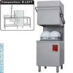 kalapos mosogatógép, 500x500 mm-es, 60/30 kosár/órás, balról-jobbra befutó és kifutó asztallal, kézi zuhannyal, mosogatóval, duplafalú, 400 V-os