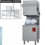 kalapos mosogatógép, 500x500 mm-es kosárral, 60/30 kosár/óra teljesítménnyel, jobbról-balra befutó és kifutó asztallal, kézi zuhannyal, mosogatóval