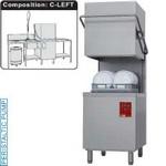 kalapos mosogatógép, 500x500 mm-es kosárral, 60/30 kosár/óra teljesítménnyel, balról-jobbra befutó és kifutó asztallal, kézi zuhannyal, mosogatóval, hulladéktárolóval