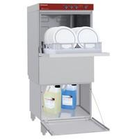 mosogatógép előrenyíló ajtós készülékmagasító állvánnyal, 500x500 mm-es, 40-24 kosár/órás, duplafalú, 230 V-os