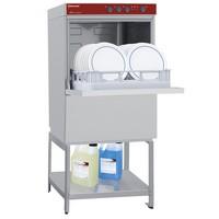mosogatógép nyitott készülékmagasító állvánnyal, 500x500 mm-es, 40-24 kosár/órás, duplafalú, 230 V-os