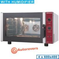 elektromos légkeveréses cukrászati sütő, 4x 600x400 mm tálcás, manuális párásítással, 230 V-os