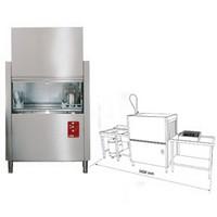 folyamatos üzemű mosogatógép, 500x500 mm-es kosárral, 100 kosár/órás, befutó és kifutó aszallal, kézi zuhannyal, mosogatóval, hulladéktárolóval