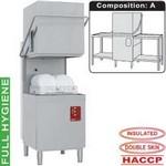 átmenő rendszerű mosogatógép, 500x500 mm-es kosárral, befutó és kifutó asztalokkal, beépített szennyvízpumpával