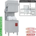 átmenő rendszerű mosogatógép, 500x500 mm-es kosárral, jobbról-balra befutó-kifutó asztalokkal, tartozékokkal, beépített szennyvízpumpával