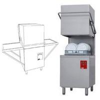 átmenő rendszerű tányérmosogató gép, 500*500 mm-es kosárral, 550 tányér/óra teljesítménnyel, oldalfalra szerelt befutó és kifutó asztallal