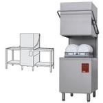 átmenő rendszerű tányérmosogató gép, 500*500 mm-es kosárral, 550 tányér/óra teljesítménnyel, befutó és kifutó asztallal