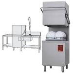 átmenő rendszerű tányérmosogató gép, 500*500 mm-es kosárral, 550 tányér/órás, jobbról-balra befutó és kifutó asztallal, kézi zuhannyal, mosogatóval