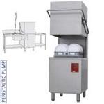 átmenő rendszerű tányérmosogató gép, 500*500 mm-es kosárral, 550 tányér/órás, balról-jobbra befutó és kifutó asztallal, kézi zuhannyal, mosogatóval