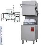 átmenő rendszerű tányérmosogató gép, 500*500 mm-es kosárral, 550 tányér/órás, jobbról-balra befutó és kifutó asztallal, kézi zuhannyal, mosogatóval, hulladéktárolóval