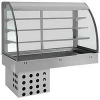 beépíthető hűtött medence, 3 polcos üveg vitrin felépítménnyel
