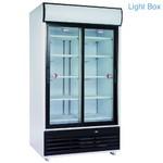 875 literes hűtő, felső világító display-jel, ventilációs, üveg tolóajtókkal