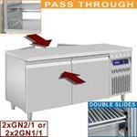 365 literes átadó rendszerű hűtött munkaasztal, mindkét oldalon 2-2 ajtóval, GN 2/1-es
