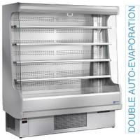 1800 mm-es hűtött fali regál, üveg oldalfalakkal, ventilációs