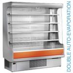 2000 mm-es hűtött fali regál, üveg oldalfalakkal, ventilációs, narancsszínű dekorral