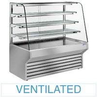 2120 mm-es hűtővitrin, ventilációs, íves frontüveggel