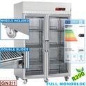 1400 literes felső aggregátos hűtő, üvegajtós, GN 2/1-es, rozsdamentes, görgős
