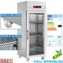 700 literes felső aggregátos hűtő, üvegajtós, GN 2/1-es, rozsdamentes, görgős