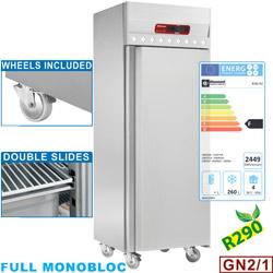 700 literes mélyhűtő, GN 2/1-es, teleajtós, rozsdamentes, görgős