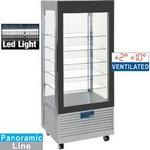 480 literes hűtővitrin, ventilációs, gördíthető, rozsdamentes
