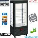 480 literes hűtővitrin, ventilációs, gördíthető, fekete