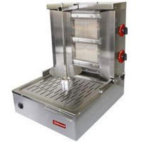 gázos gyros sütő, 400 mm-es nyárssal, 15-20 kg kapacitással