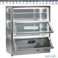 540 literes gördíthető panoráma mélyhűtő vitrin, 2 lefelé nyíló ajtóval, 4 üvegpolccal, festett acél kivitelben, ventilációs