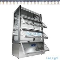 810 literes gördíthető panoráma hűtővitrin, 3 lefelé nyíló ajtóval, 6 üvegpolccal, festett acél kivitelben, ventilációs
