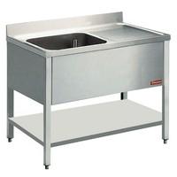 1 medencés mosogató jobbos csepegtetővel, 1400 mm-es, alsó polccal