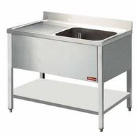 1 medencés mosogató balos csepegtetővel, 1400 mm-es, alsó polccal