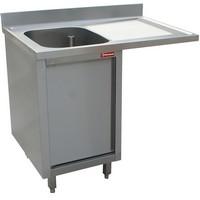 1 medencés mosogató jobbos csepegtetővel, mosogatógéphez, 1400 mm-es, körben zárt, nyíló ajtóval