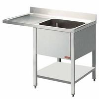 1 medencés mosogató balos csepegtetővel, mosogatógéphez, 1400 mm-es, alsó polccal