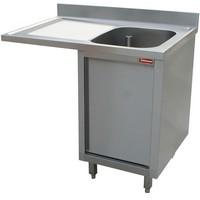 1 medencés mosogató balos csepegtetővel, mosogatógéphez, 1400 mm-es, körben zárt, nyíló ajtóval