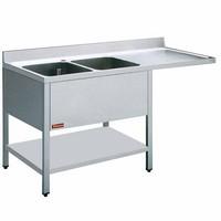2 medencés mosogató jobbos csepegtetővel, mosogatógéphez, 1600 mm-es, alsó polccal