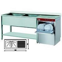 tényérmosogató gép 500*500 mm-es kosárral, 360 tényér/órás, egybeépített 2*400x500 medencés mosogatóval, jobbos csepegtetővel