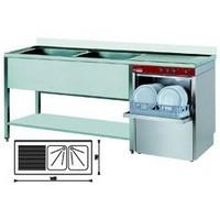 tényérmosogató gép 500*500 mm-es kosárral, 360 tényér/órás, egybeépített 2*400x500 medencés mosogatóval, balos csepegtetővel