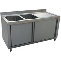 2 medencés mosogató jobbos csepegtetővel, 1800 mm-es, körben zárt, tolóajtókkal