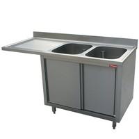 2 medencés mosogató balos csepegtetővel, mosogatógéphez, 1800 mm-es, körben zárt, tolóajtókkal